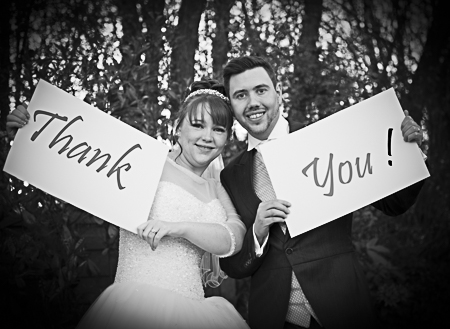 Thank You sign wedding Couple